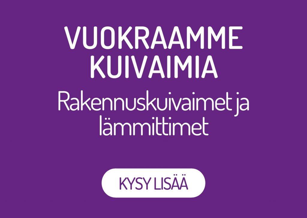 Oulun Kosteustutkimus Oy vuokraa kuivaimia rakennustyömaille. Saat meiltä rakennuskuivaimet sekä lämmittimet. Kysy lisää!